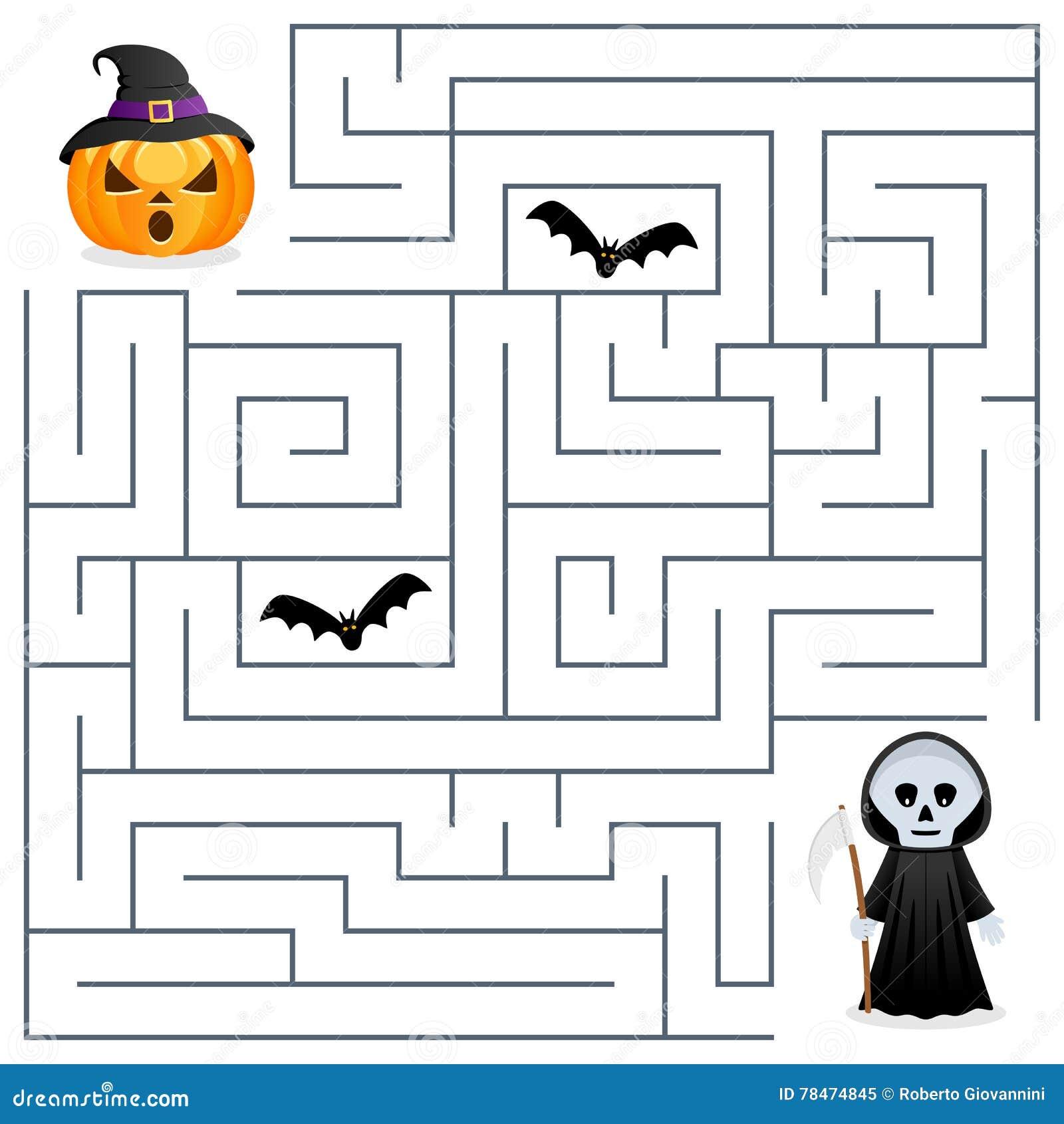 Halloween Maze - Grim Reaper & Pumpkin Stock Vector - Illustration