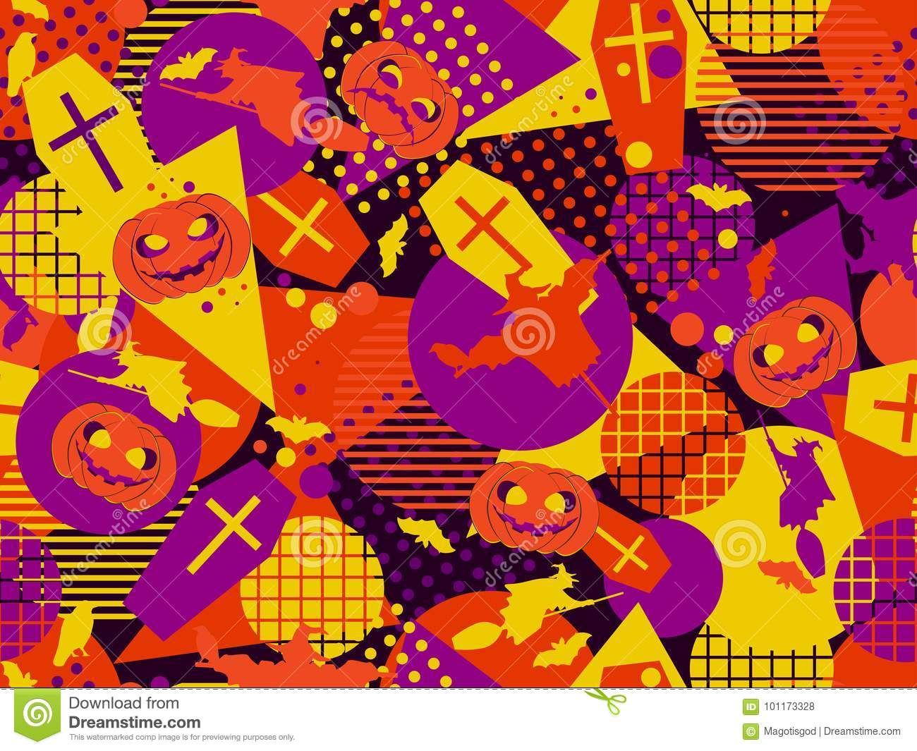 download halloween memphis seamless pattern festive background with mystical creatures and geometric figures a memphis