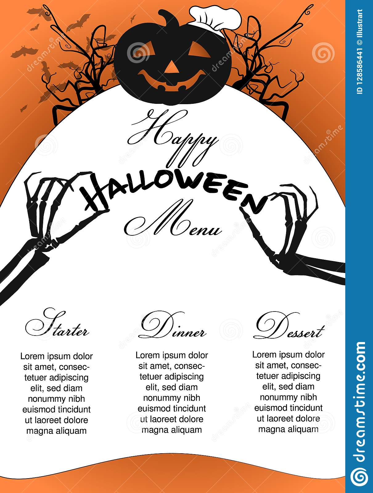 halloween menu template with pumpkin chef and skeleton hands stock