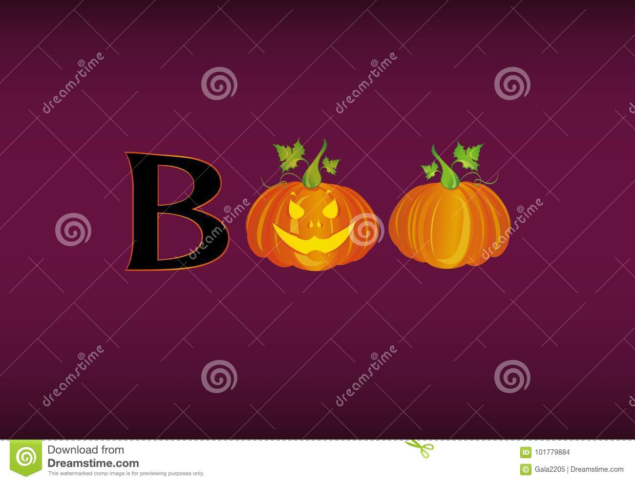 halloween message boo from pumpkins vector words for invitation