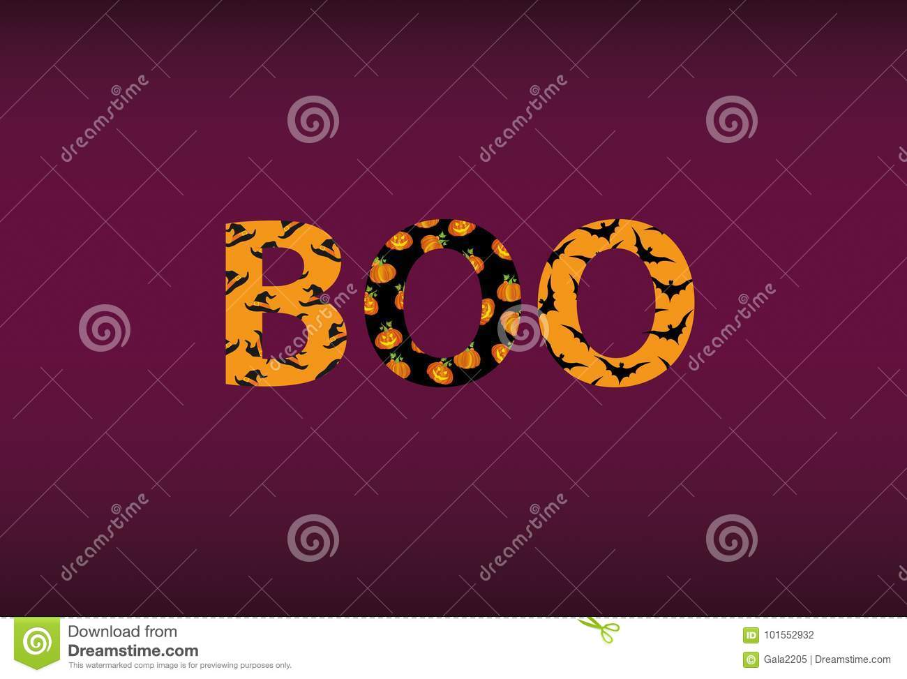 halloween message boo vector words for invitations to a party