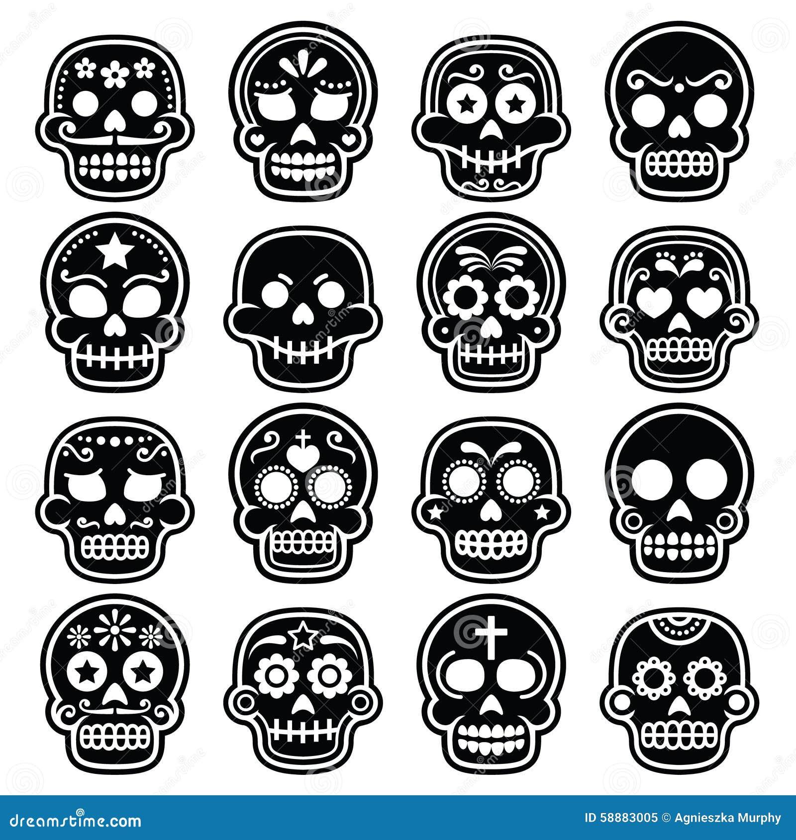 mexican sugar skull dia de los muertos icons set stock vector