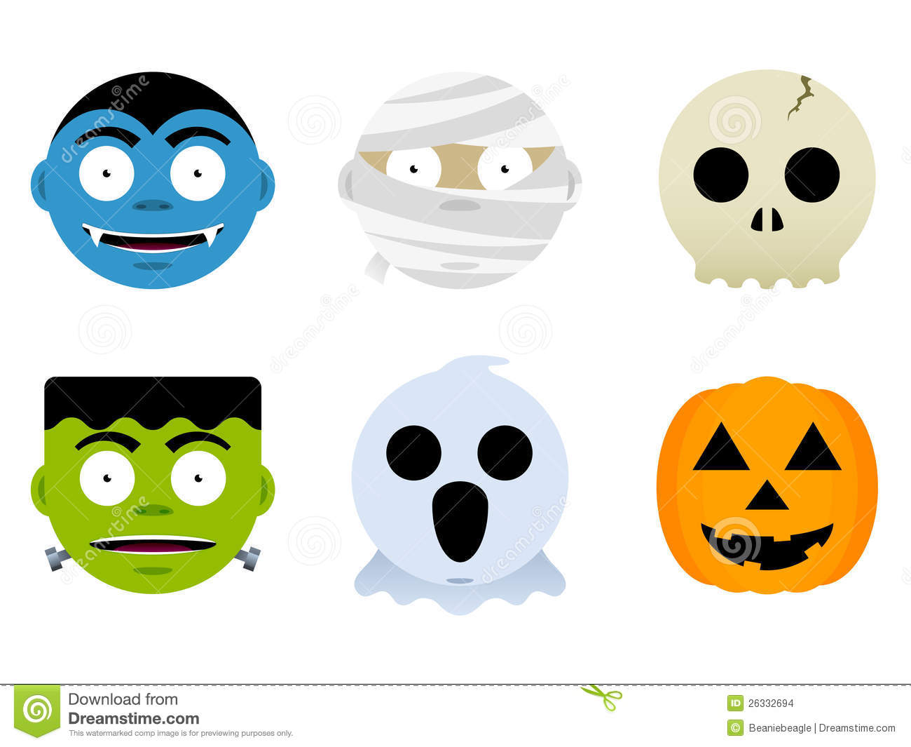 Halloween monster faces stock vector image of faces 26332694