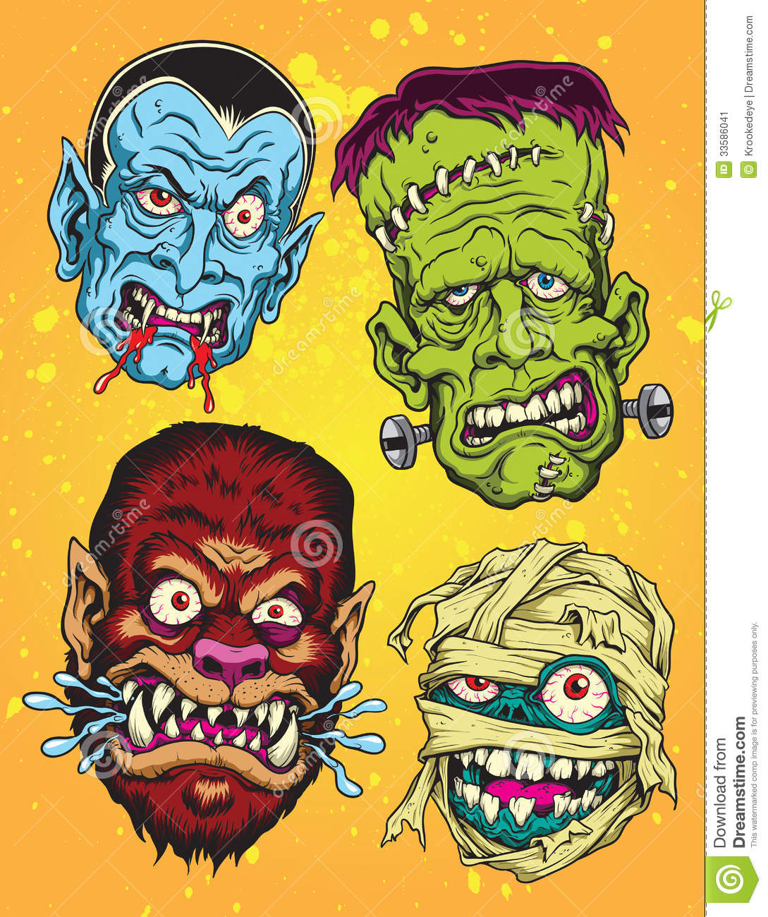 Halloween Monster Heads Stock Image - Image: 33586041