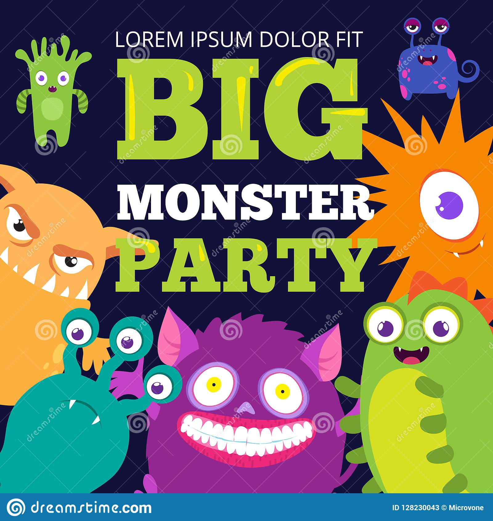 halloween monster party banner template with cute cartoon characters