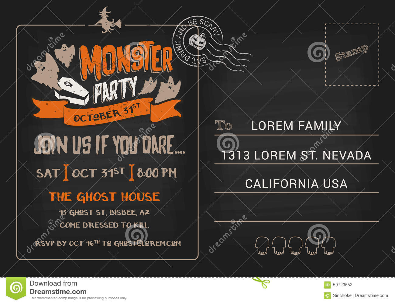 halloween night event flyer party template with space for text . halloween party invitation ...