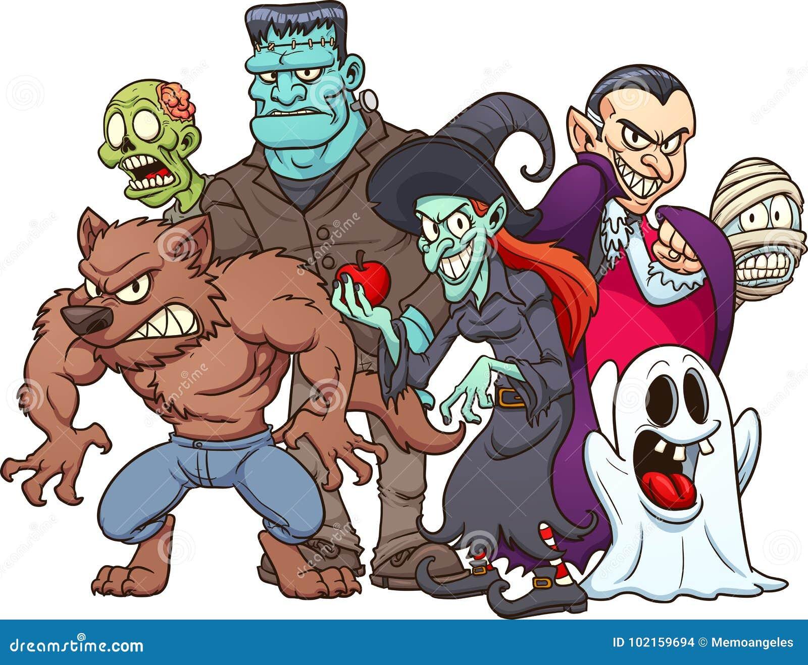 Halloween Monsters Stock Vector Illustration Of Gradient 102159694