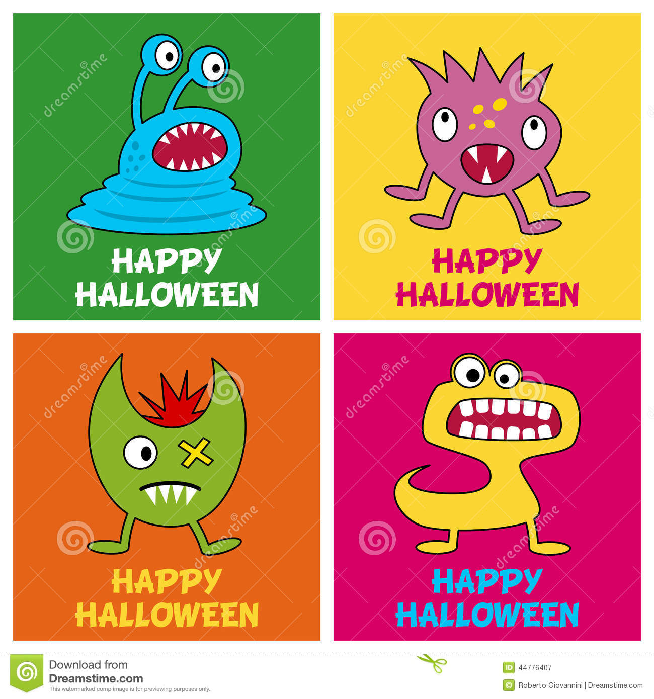 Halloween Monsters Greeting Cards 1 Stock Vector Illustration Of