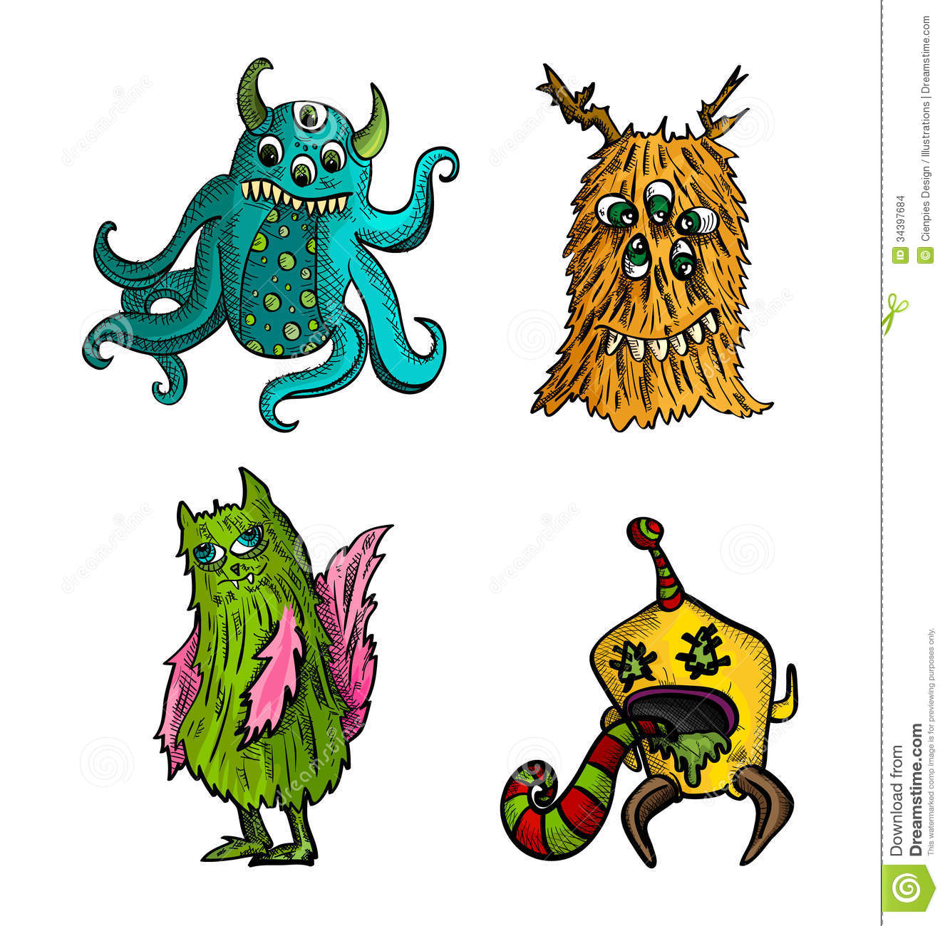 Halloween Monsters Isolated Sketch Style Creatures Set. Stock ...