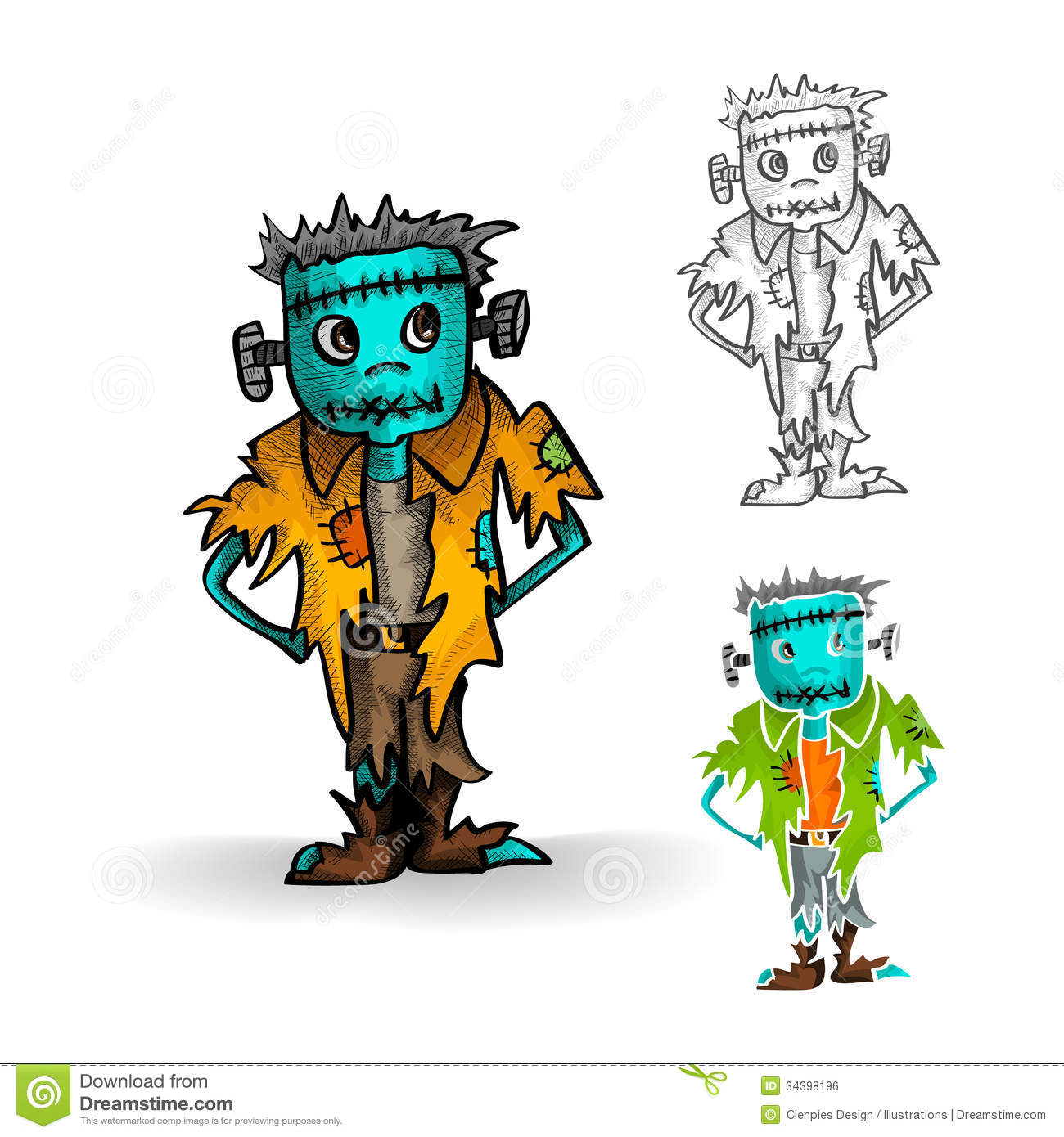 Halloween Monsters Isolated Spooky Zombie Man Set. Royalty Free ...
