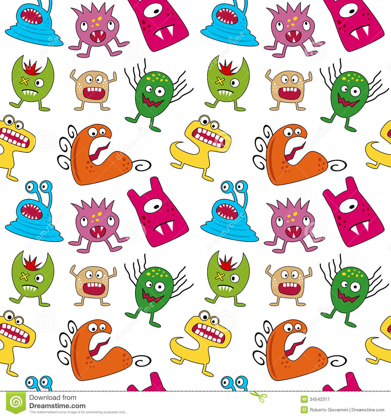 Seamless Halloween Background With Monsters. Royalty Free Stock ...