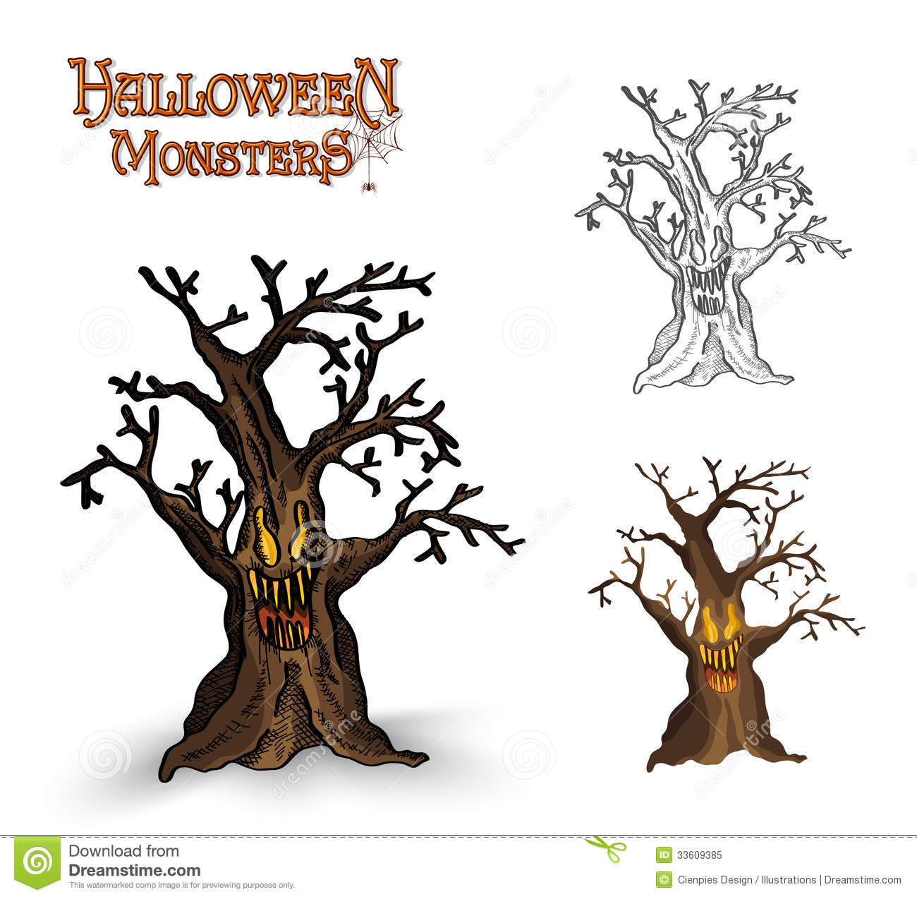 Halloween Monsters Spooky Tree Illustration EPS10 File ...