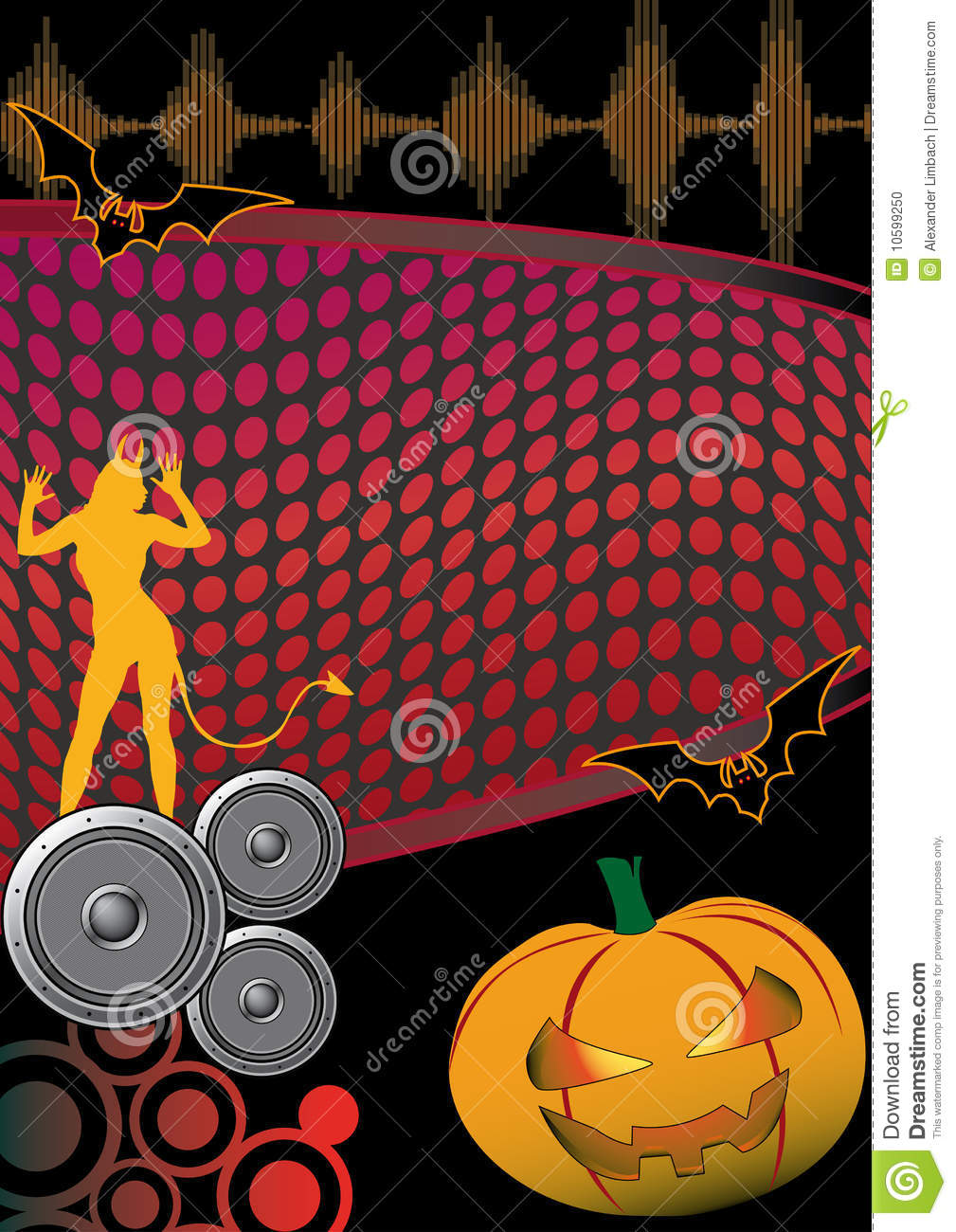 Halloween Music Disco Party Flyer Poster Stock Photo - Image: 10599250