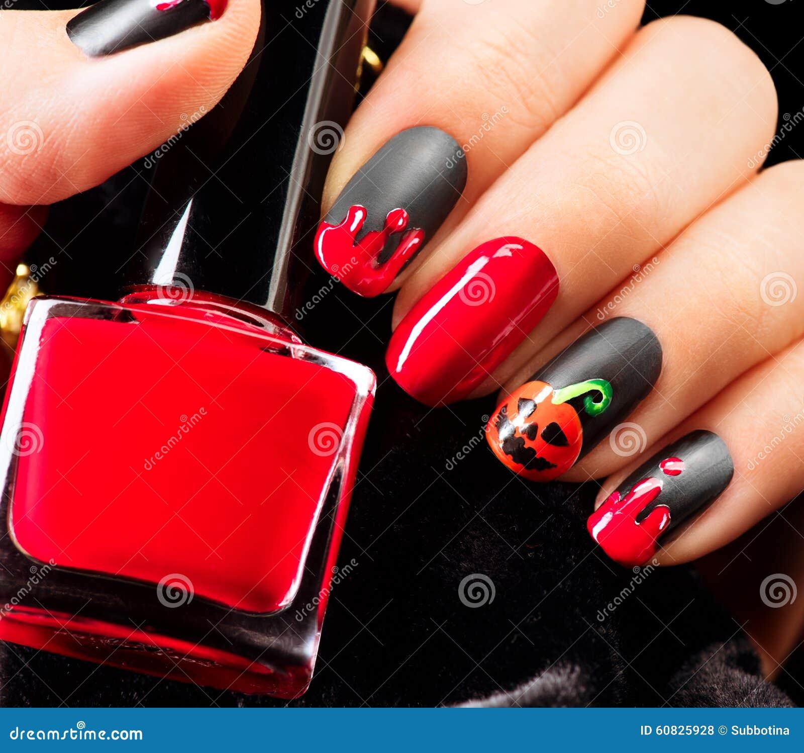Halloween Nail Art Design. Black Matte Nailpolish Stock ...