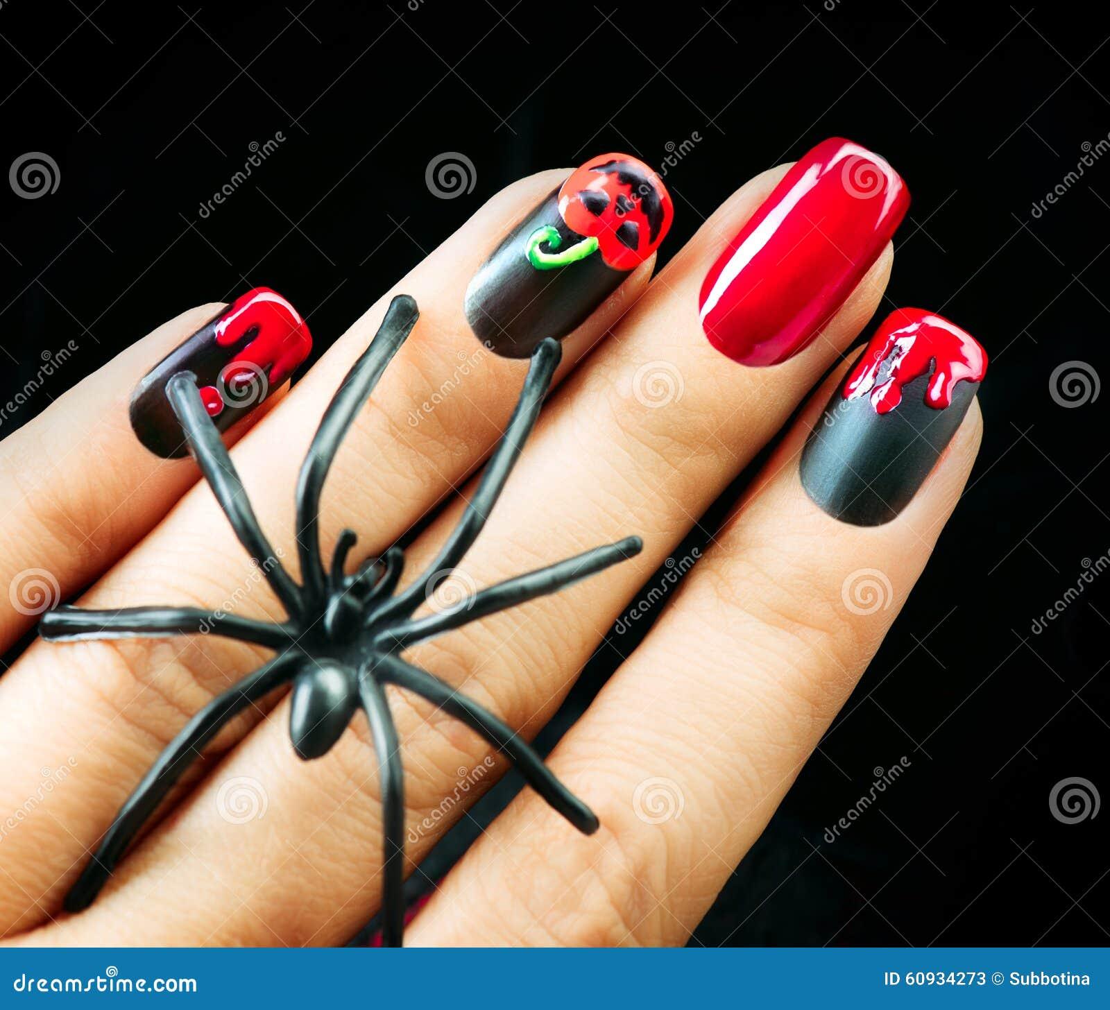Halloween Nail Art Designs Without Nail Salon Prices: Halloween Nail Art Design. Black Matte Polish Stock Photo