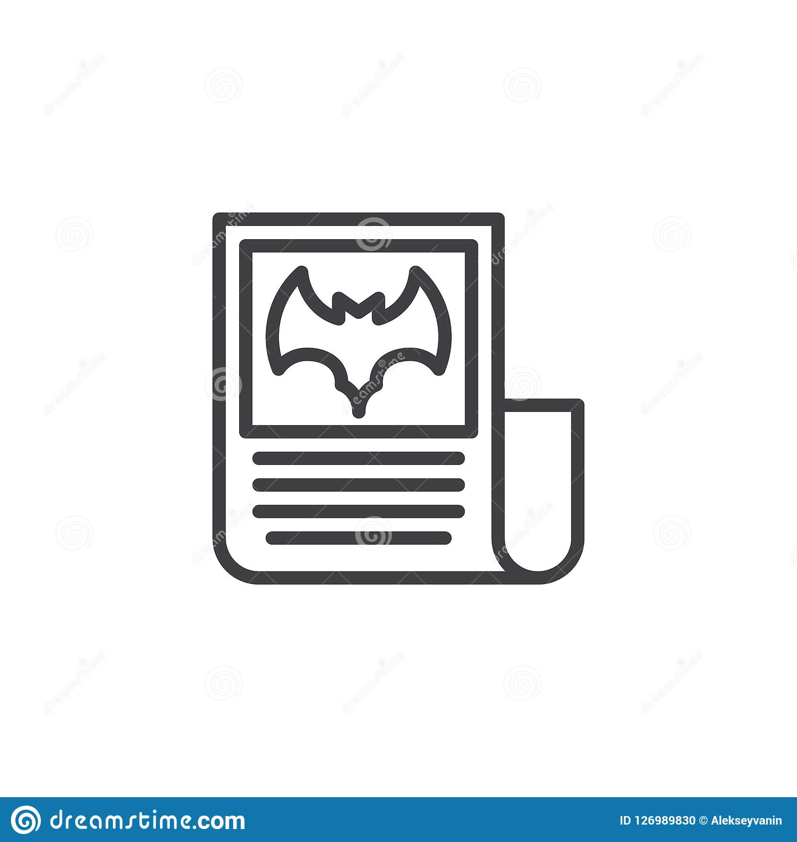 Halloween Newspaper Outline Icon