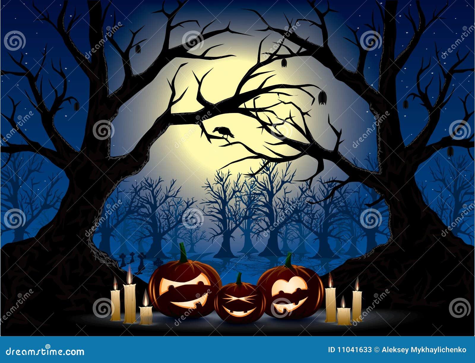 Halloween night stock vector. Image of bleak, cemetary - 11041633