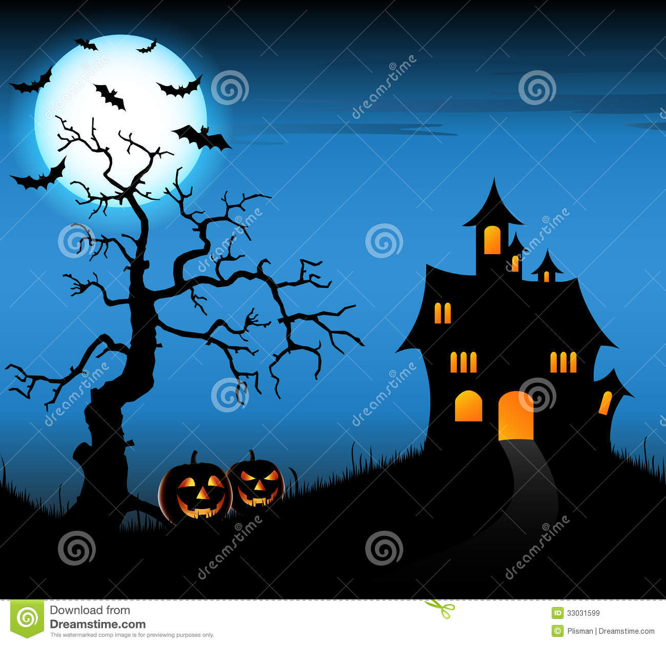 Halloween Night Background With Castle And Pumpkins Stock ...