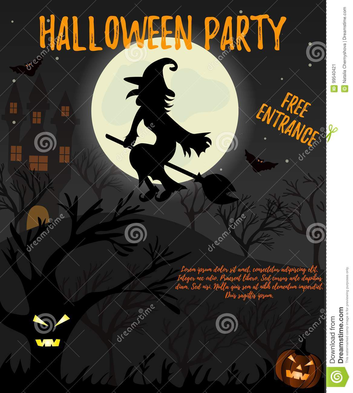 Halloween Night Background With Creepy House Witch Trees And Pumpkin Invitation Template