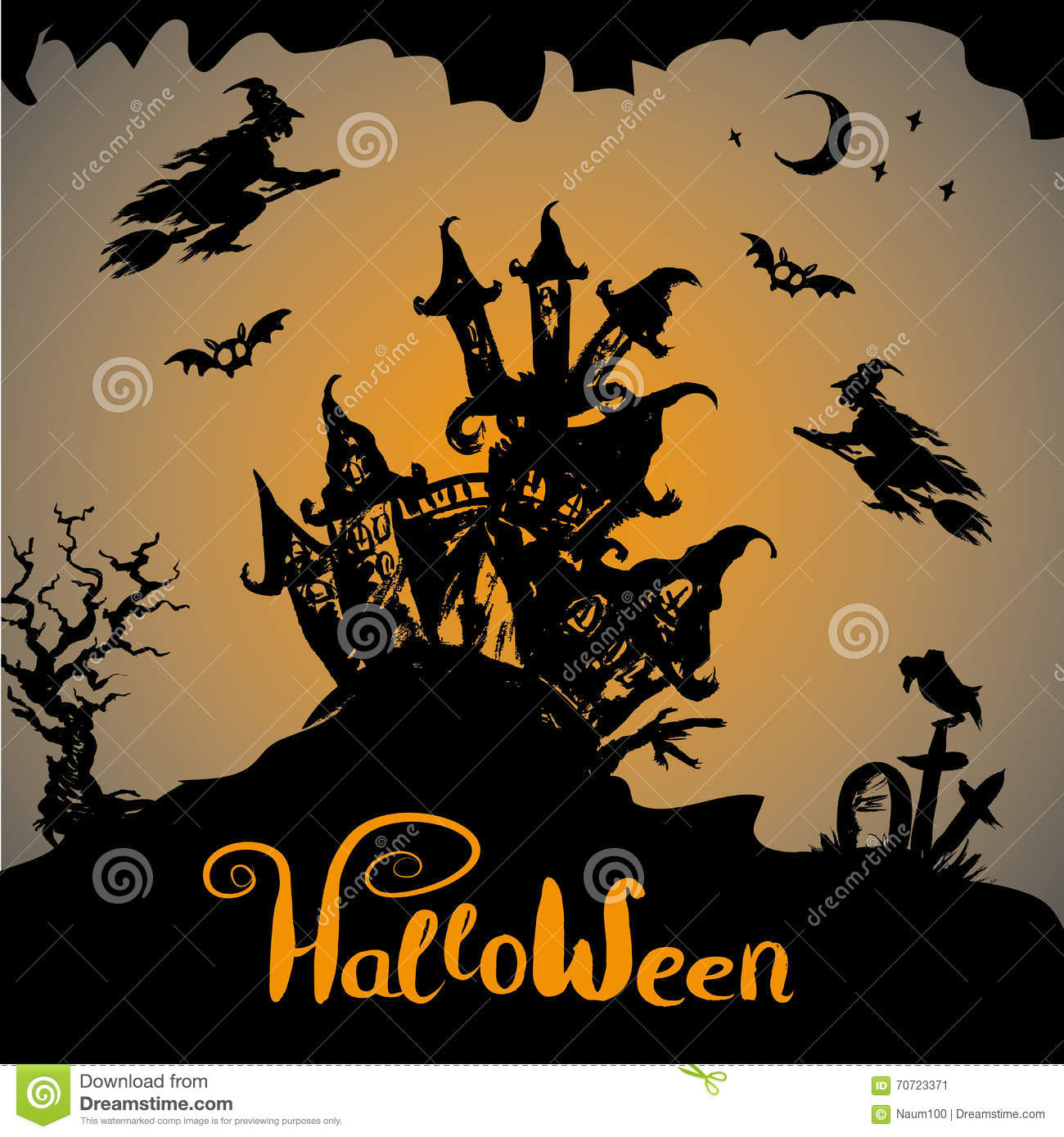 Halloween Night Background With Haunted House Stock Vector ...