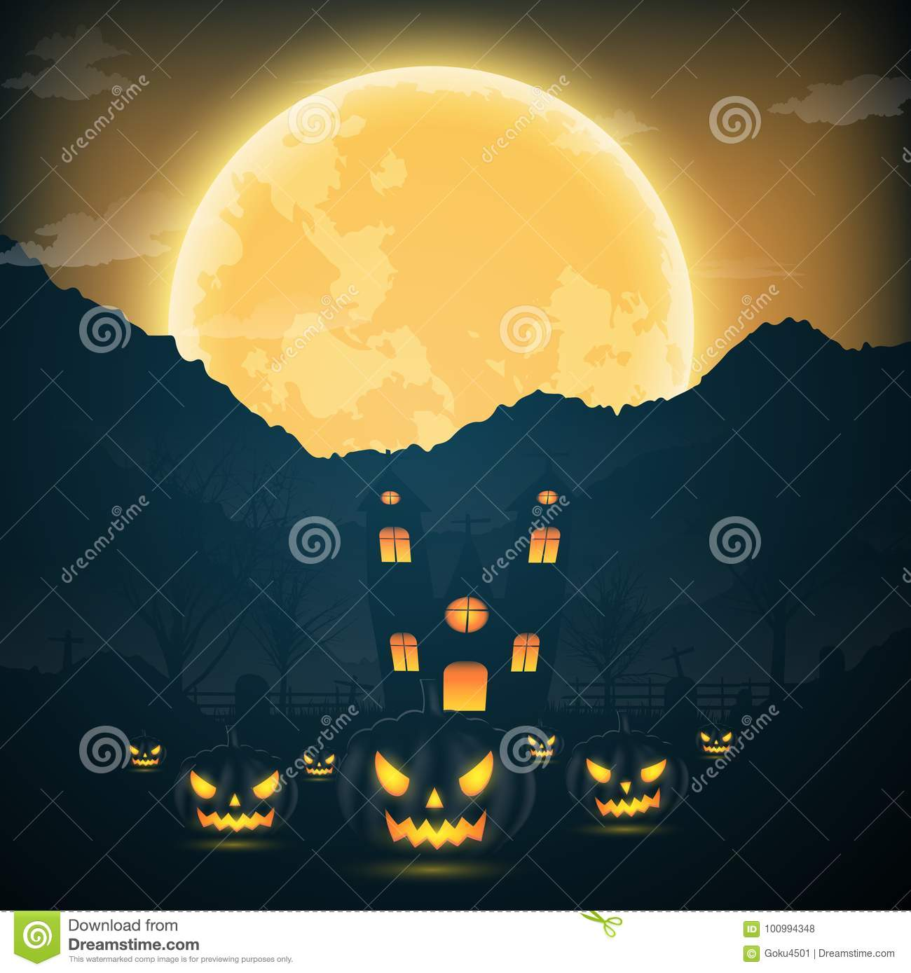 Halloween night background with pumpkin, naked trees, bat haunted house and  full moon on dark background.Vector illustration.