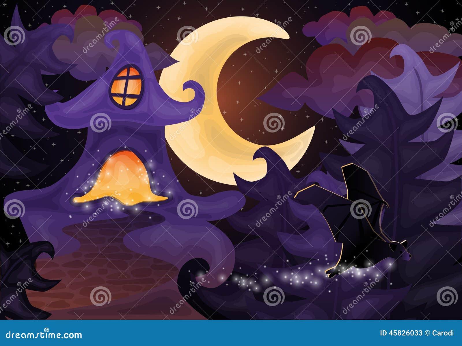 Popular Wallpaper Halloween Haunted - halloween-night-wallpaper-haunted-house-vector-illustration-45826033  Trends_72424.jpg