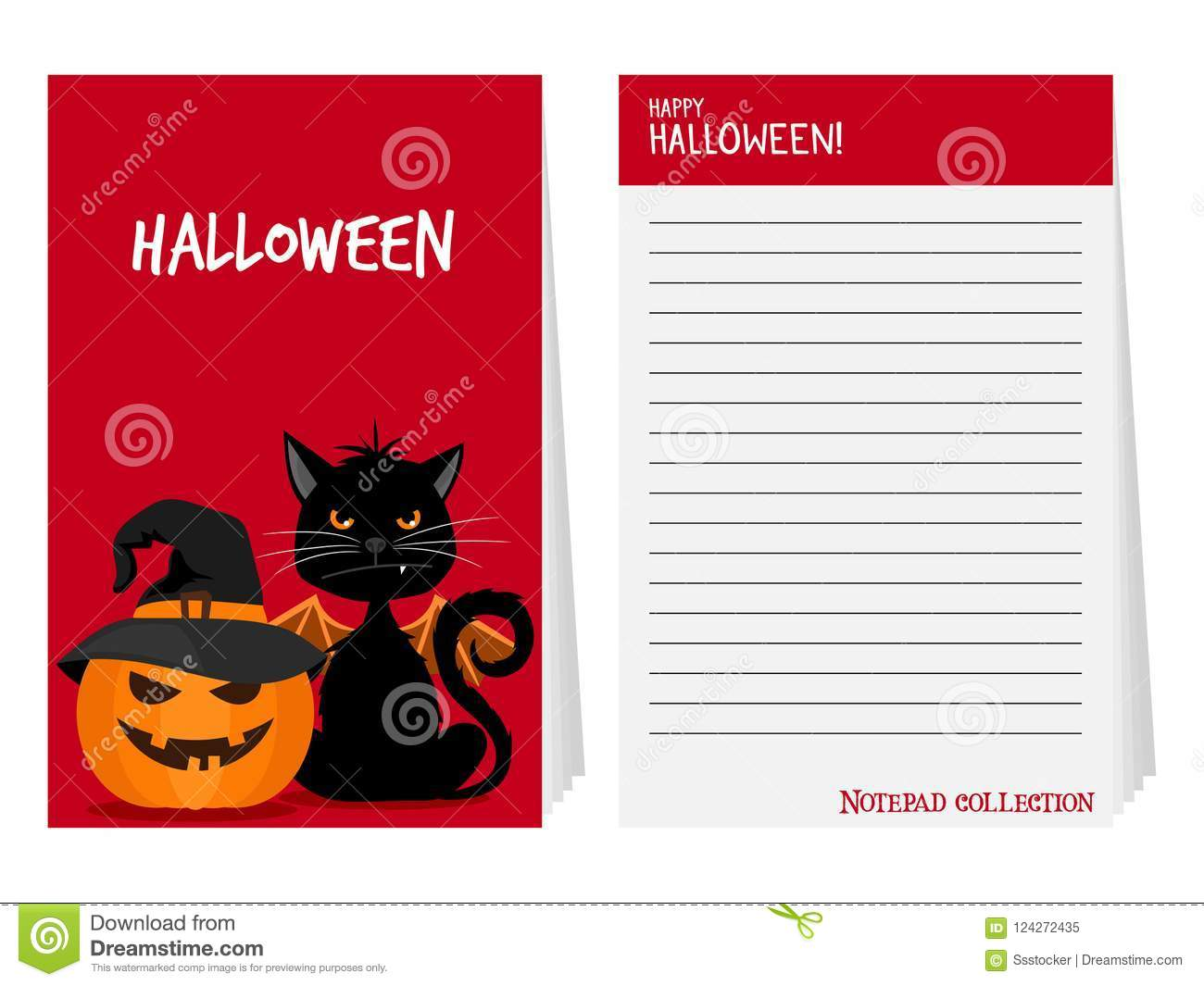 halloween notepad with black cat and pumpkin vector illustration