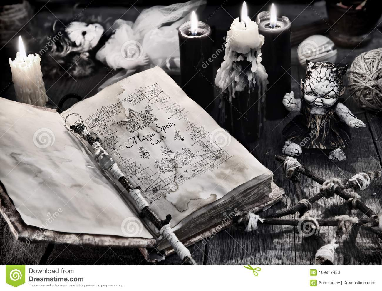 Old Book With Black Magic Spells, Scary Doll, Black Candles