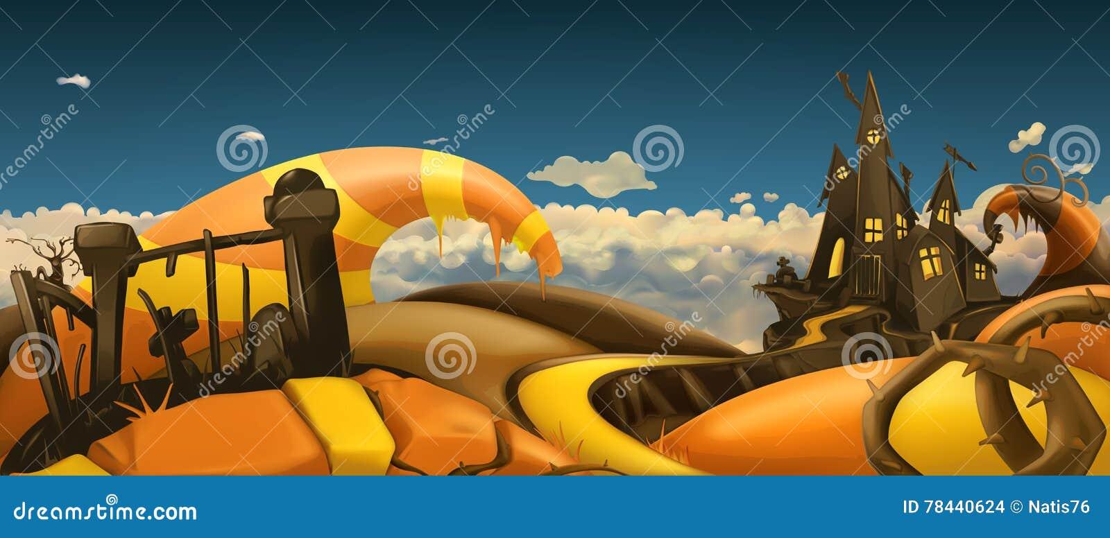 Halloween od tła blasku księżyca uwagi Kreskówki krajobrazowa panorama 3d wektor