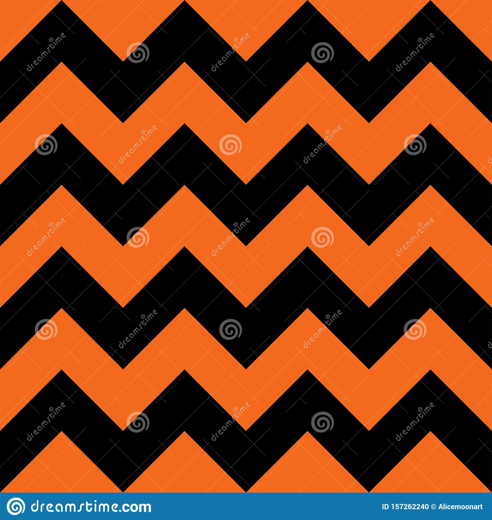 Halloween Orange and Black Chevron Seamless Pattern Background