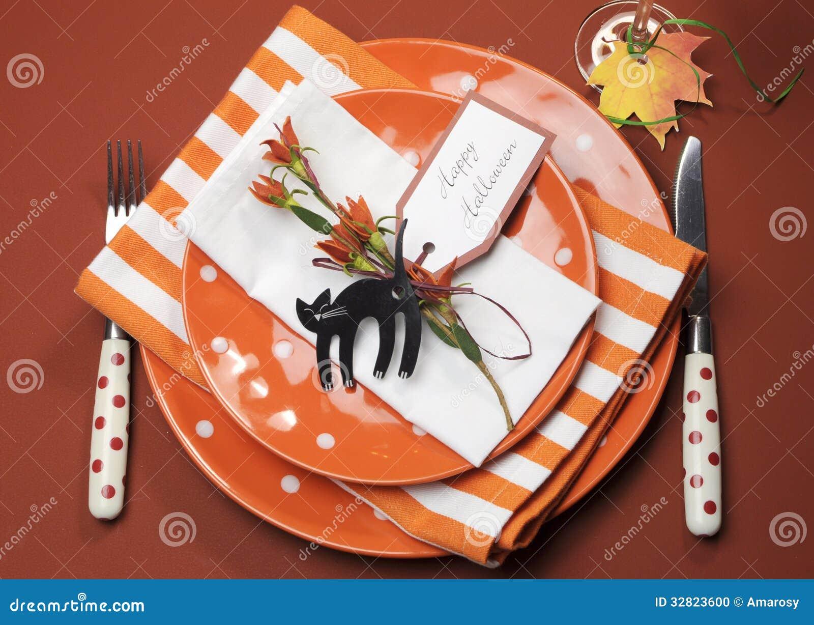 Halloween Dinner Table Setting.Halloween Orange Polka Dot And Stripes Dinner Table Setting