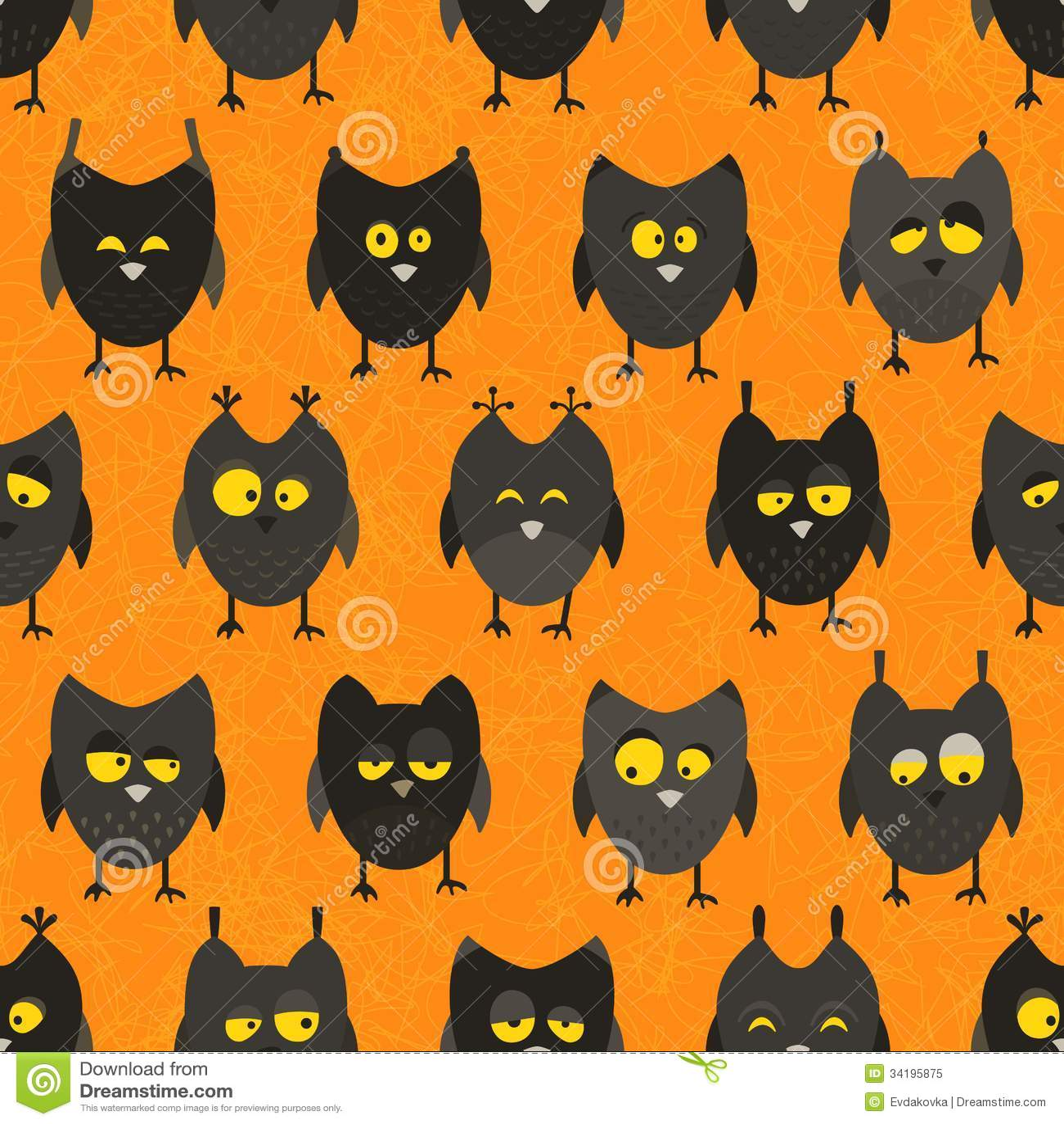 Halloween owl pattern. Seamless background. EPS 10 vector illustration ...