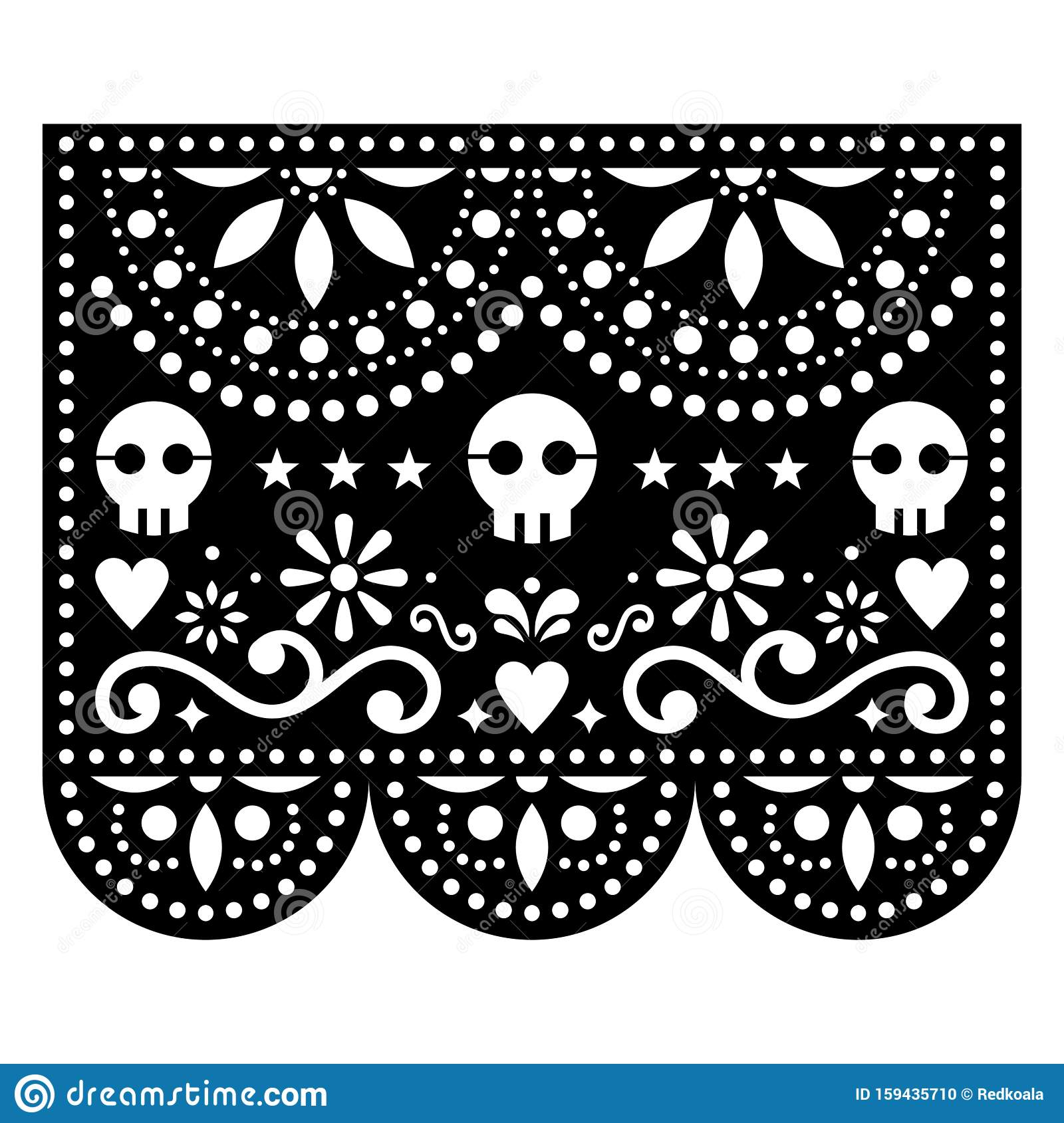 Halloween Papel Picado Design With Skulls, Mexican Paper
