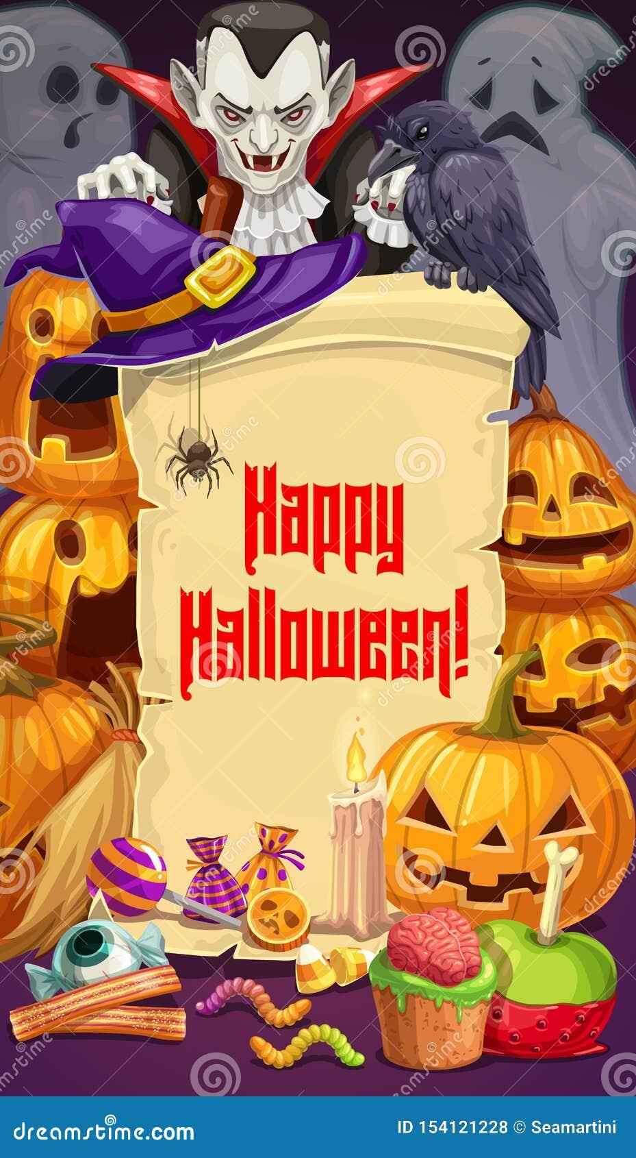 Halloween-Partei, Dracula und Kürbise, Bonbons