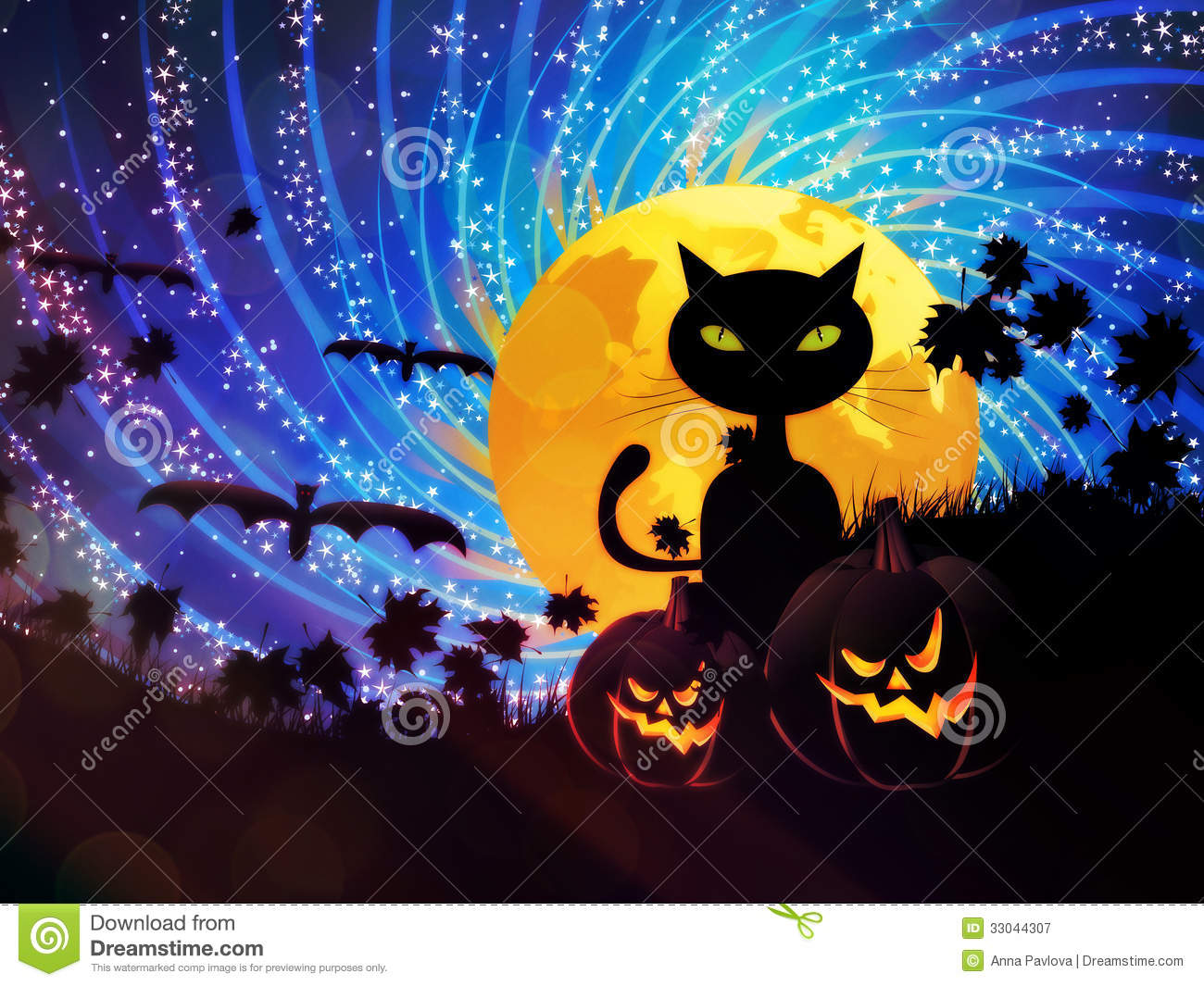 Halloween Party Background With Cat Royalty Free Stock Photography ...