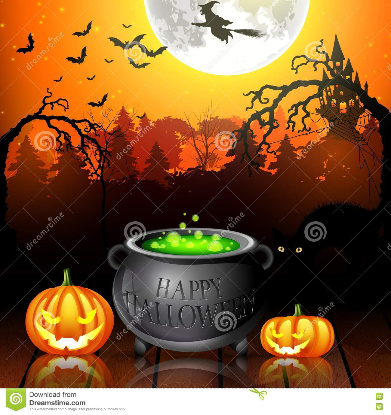 Halloween Party Background With Pumpkins, Pot And Flying Witches ...