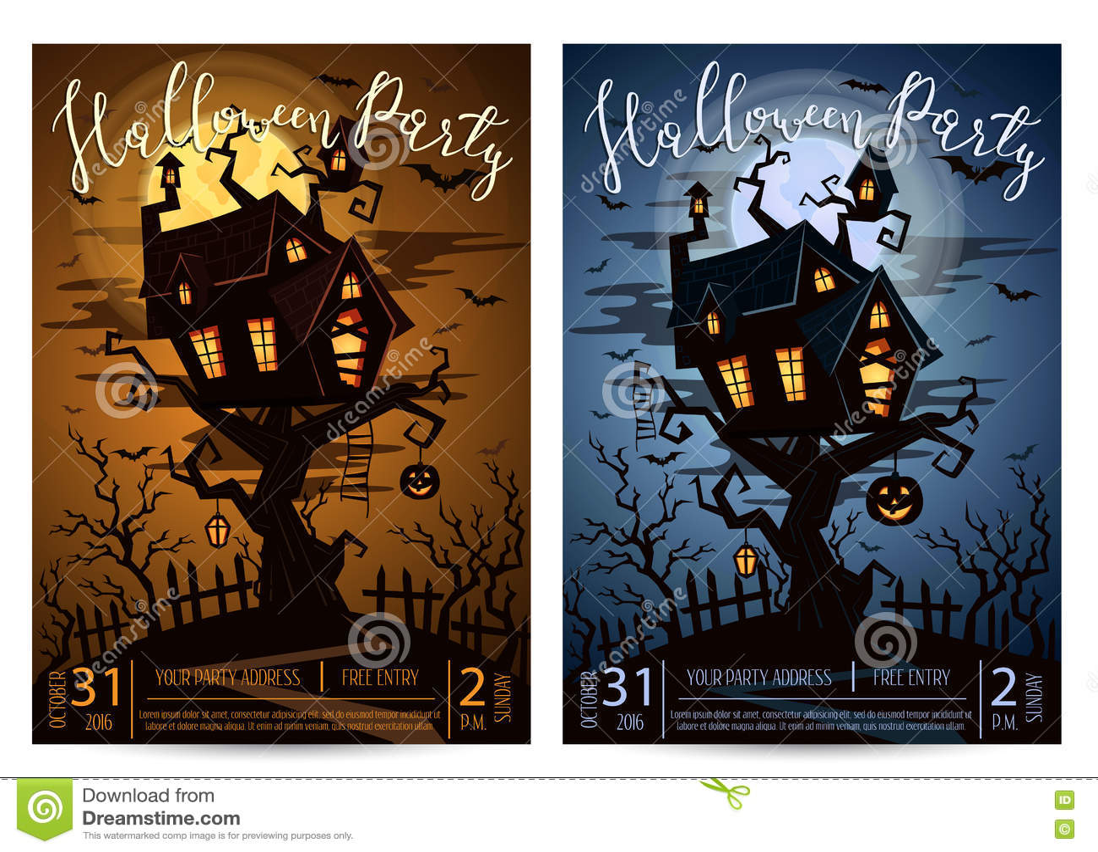 Halloween Party On A Spooky Graveyard Under Full Moon Stock Vector ...
