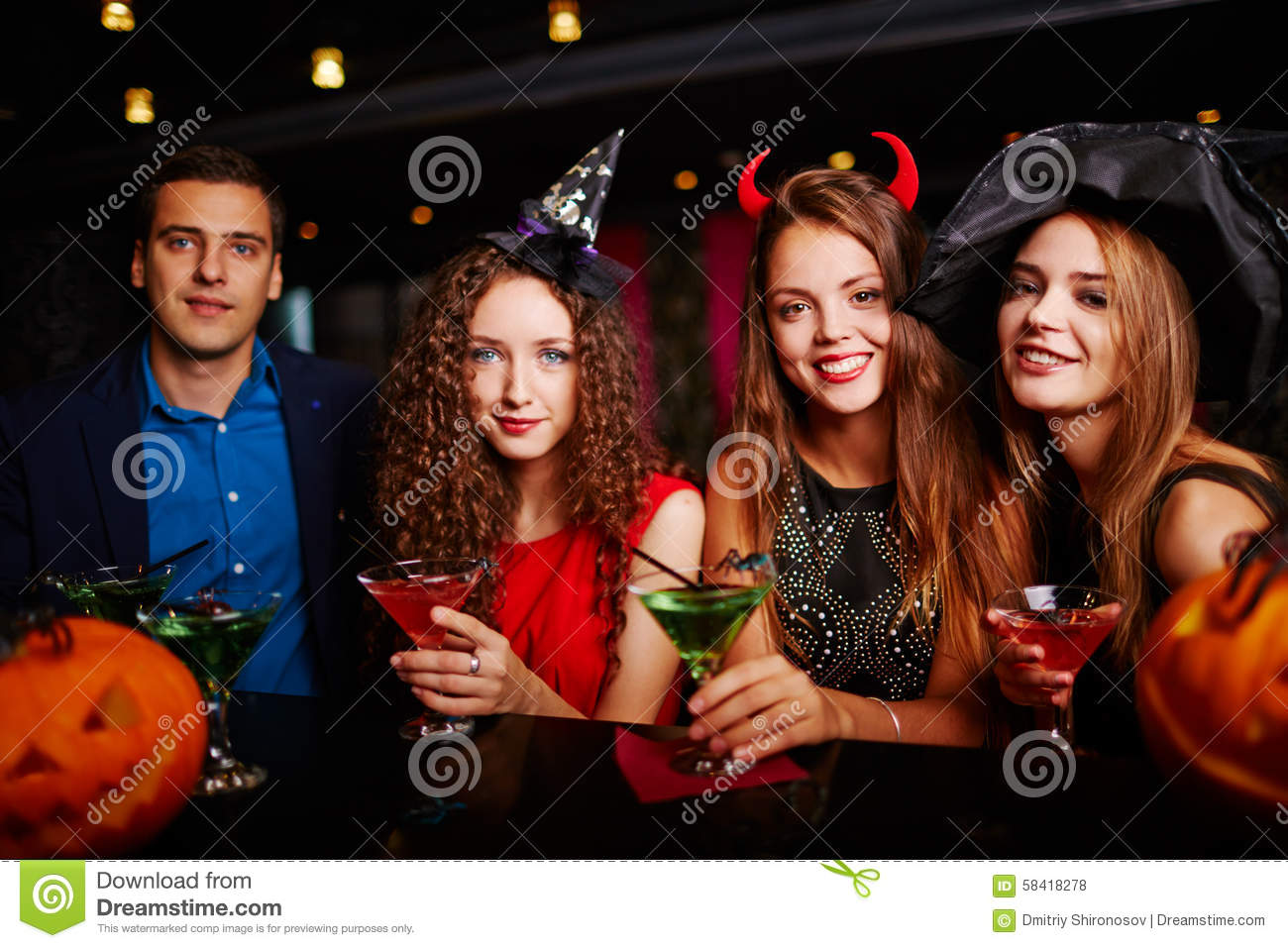 Halloween Party At Bar Stock Photo - Image: 58418278