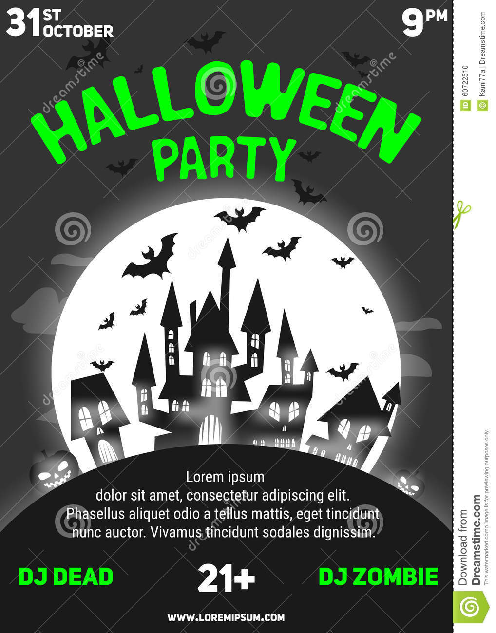 Black And White Flyer Template | Halloween Party Black And White Flyer Template Stock Vector