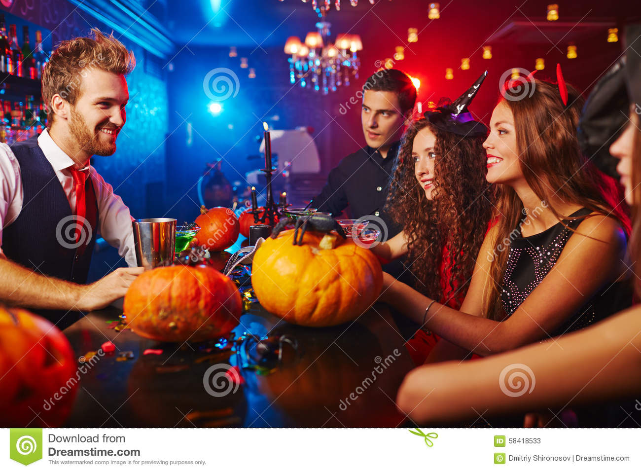 Halloween party at club stock image. Image of pumpkin - 58418533
