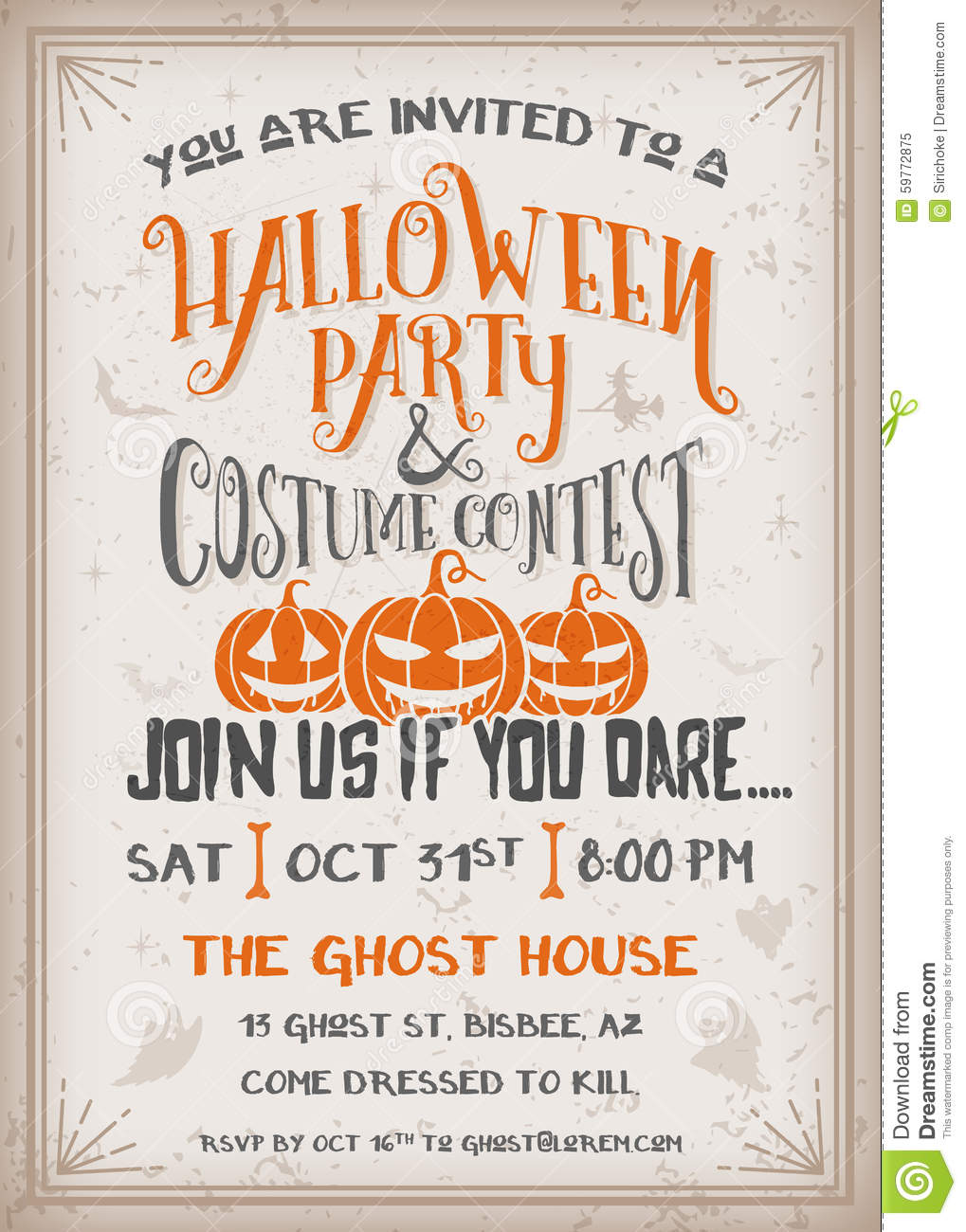 Halloween Party And Costume Contest Invitation Stock Vector