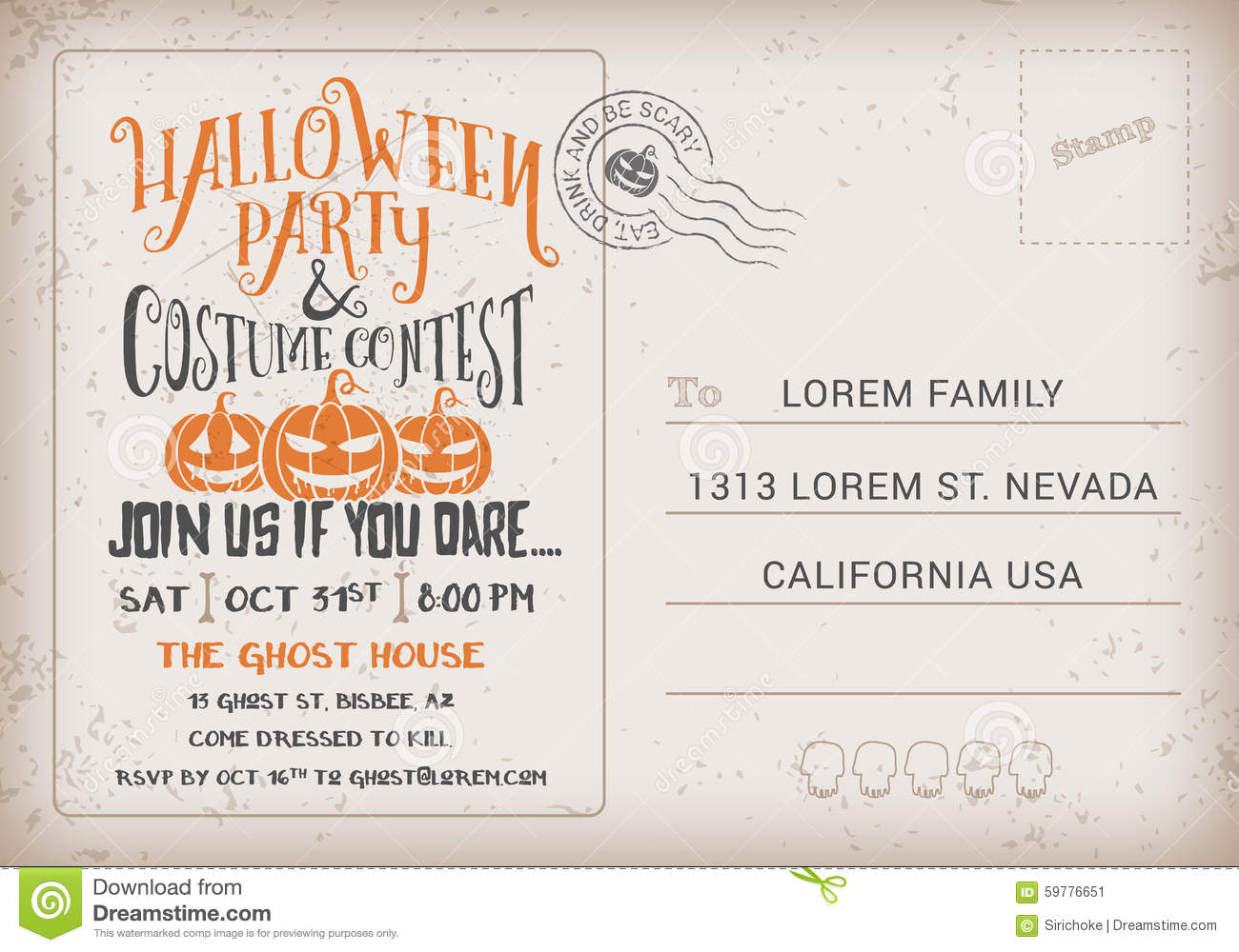 Halloween Party and Costume Contest Invitation Template. Halloween ...