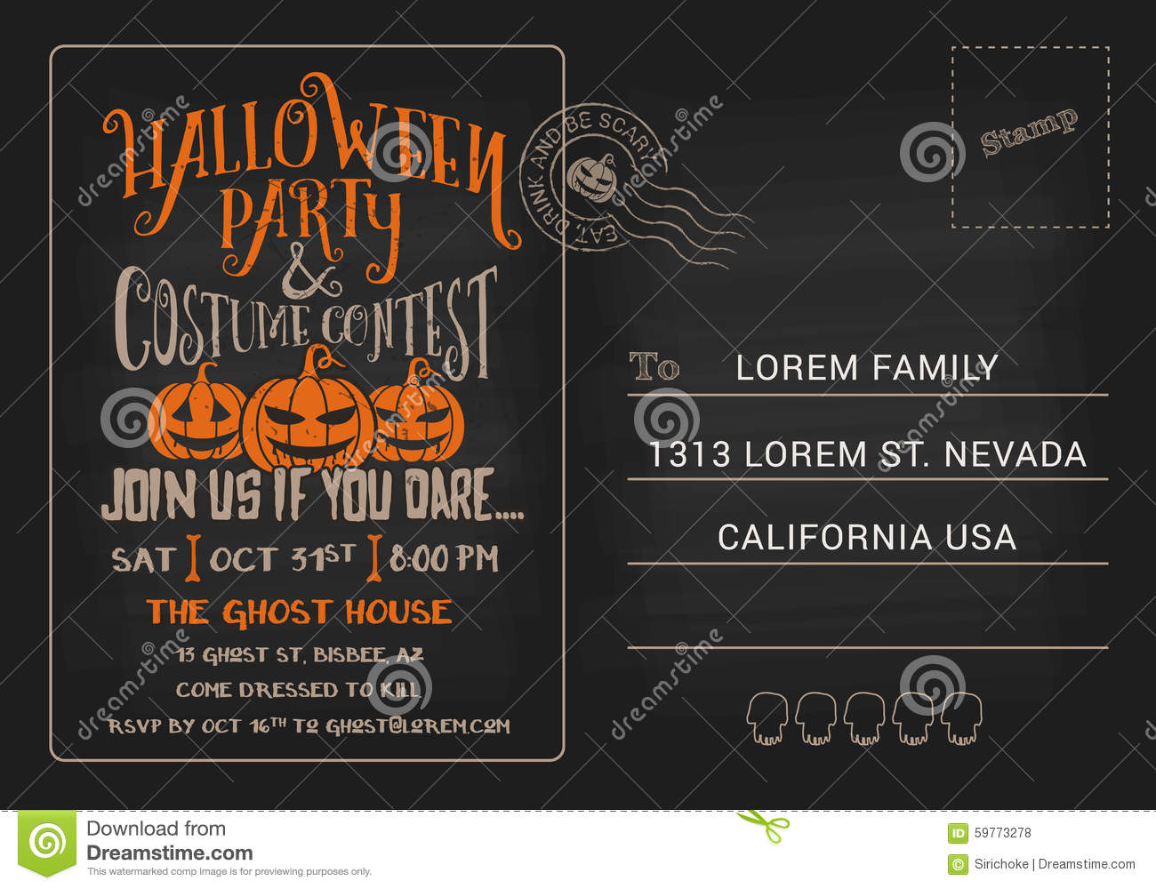 Halloween party and costume contest postcard invitation template download halloween party and costume contest postcard invitation template stock vector illustration of party maxwellsz