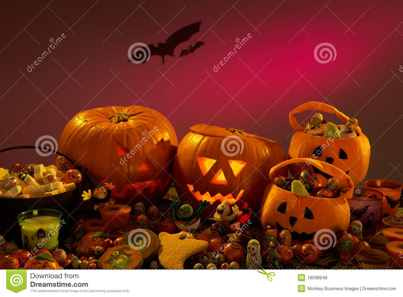 Halloween Party Decorations With Pumpkins Royalty Free Stock ...