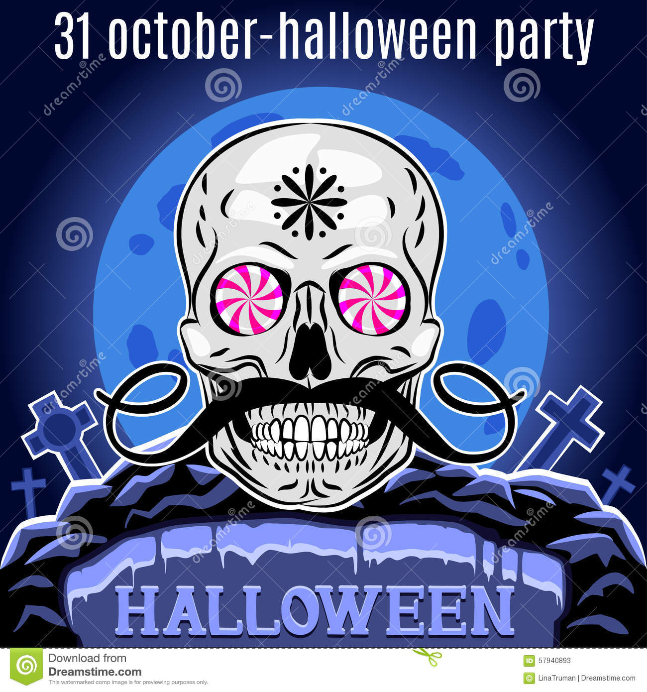 halloween party design template for poster funny skull vector
