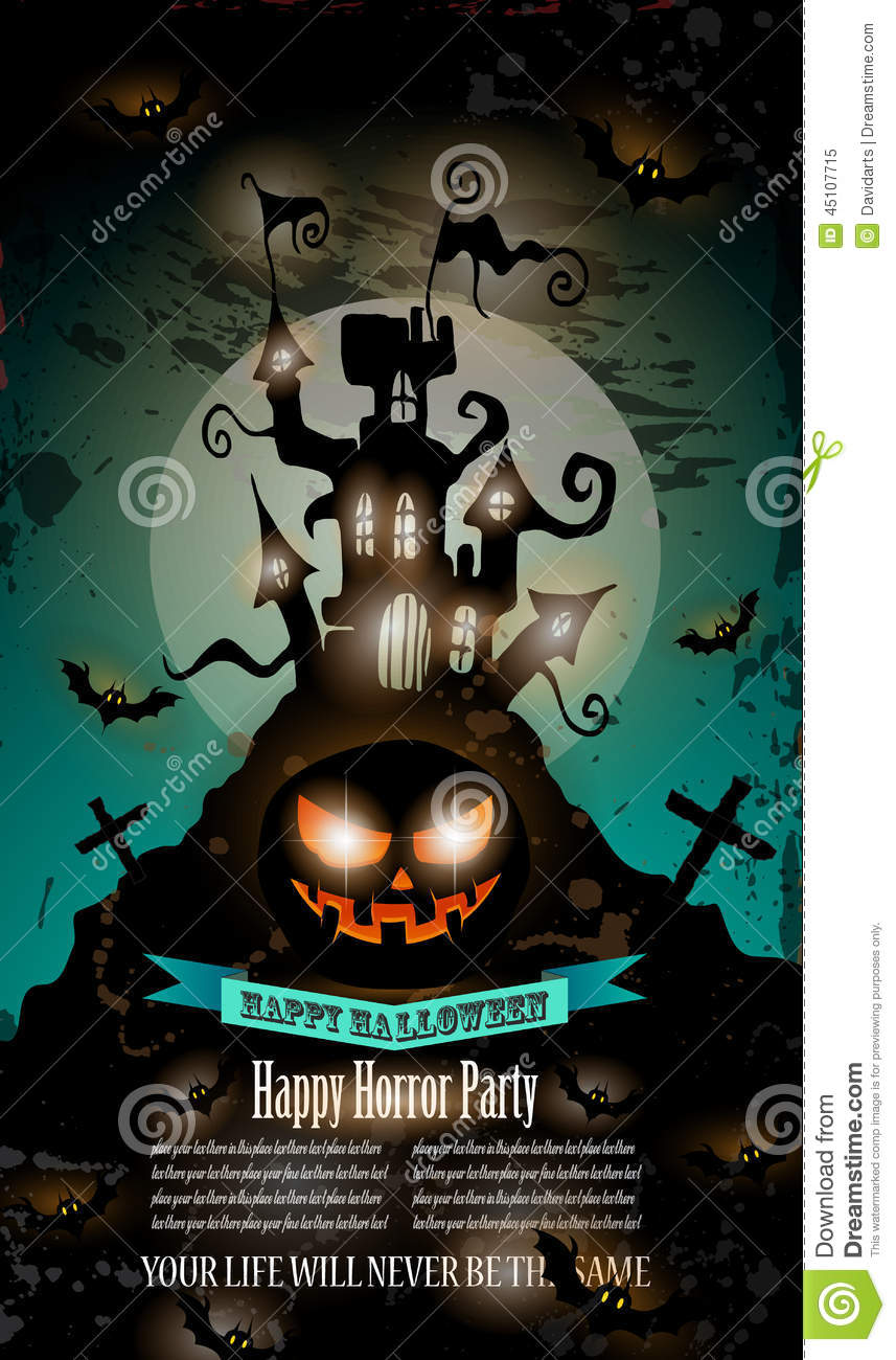 halloween party flyer with creepy colorful elements stock