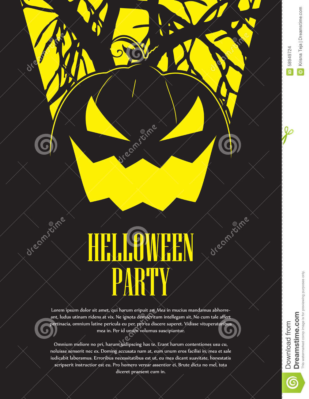 Halloween Party Flyer Stock Vector - Image: 58949724