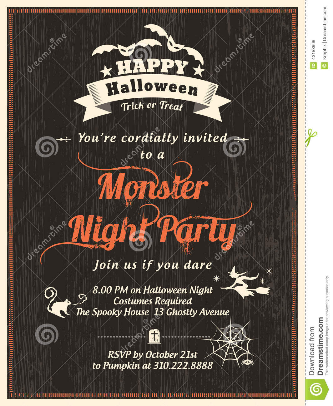 Halloween Party Flyer Invitation Template Stock Vector - Image ...