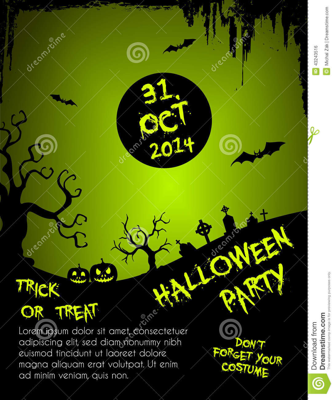 Halloween Party Flyer Template - Green And Black Stock Vector ...