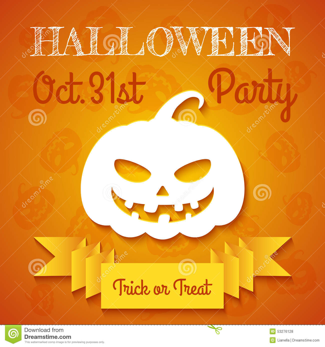 Halloween Party Flyer Template Stock Vector - Image: 53276128
